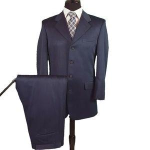 Zandello Blue Mens Suit 40L w/ Pleated Pants 33x29